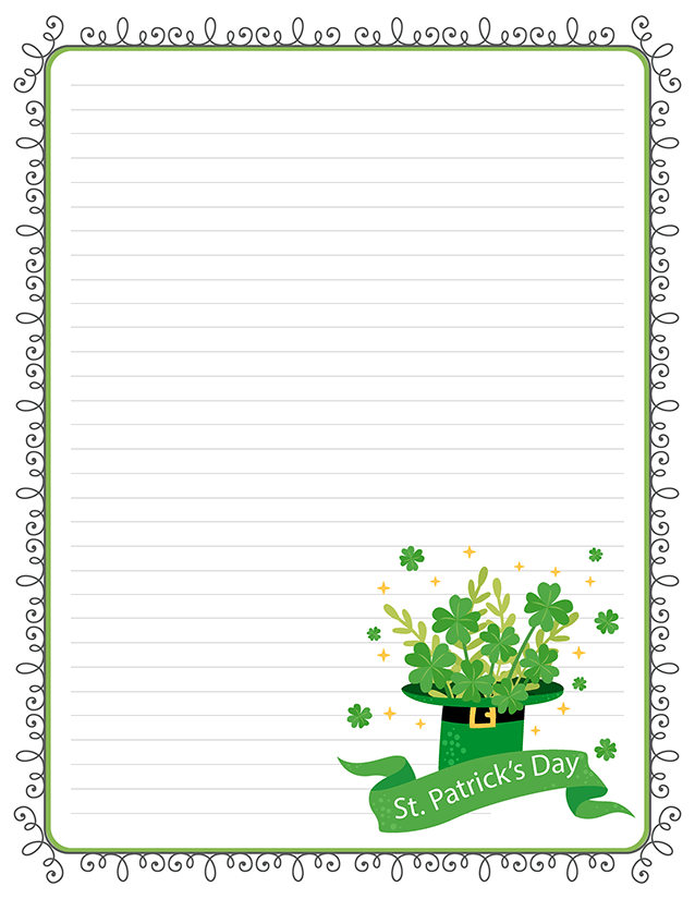 St. Patrick's Day Free Printable Lined Stationery | Free ...