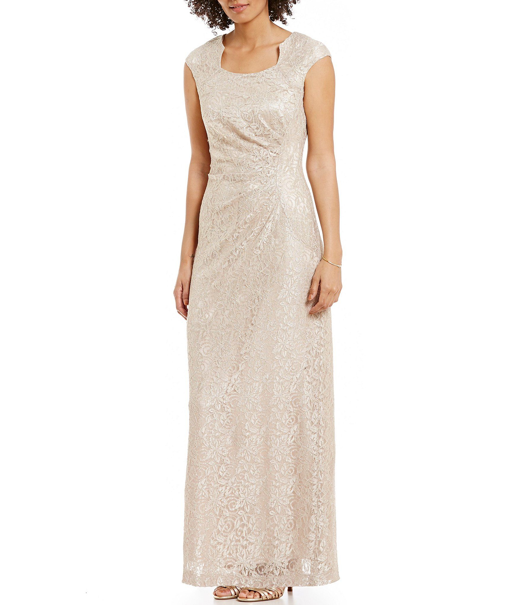 Tahari Asl Shimmer Stretch Lace Column Gown Dillard S Column Gown Gowns Lace Gown [ 2040 x 1760 Pixel ]