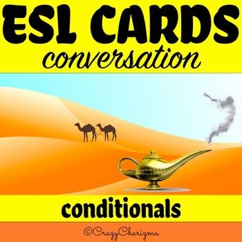 ESL Conversation Cards Conditionals packet contains 40 pages with cards. There are 10 variants  how to use these cards with 120 words. All the how to use variants are described in details.There are 5 types of colorful cards and 1 type of black and white cards:***blue cards are for Conditional 0 questions;***green cards are for Conditional 1 questions;***purple cards are for Conditional 2 questions;***red cards are for Conditional 3 questions;***orange cards are for Mixed Conditionals…