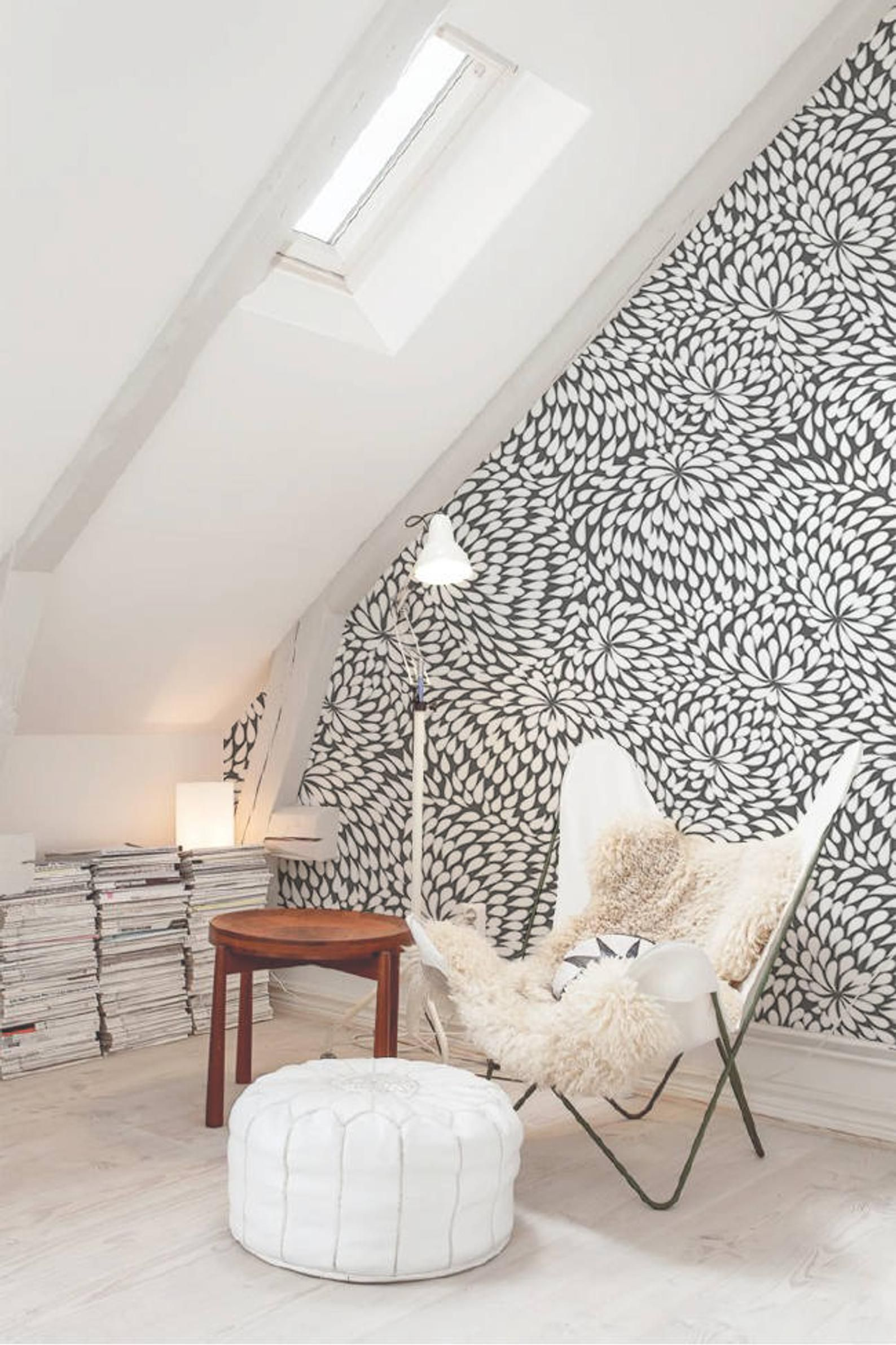 Black Floral Removable Wallpaper Traditional White Print Wall