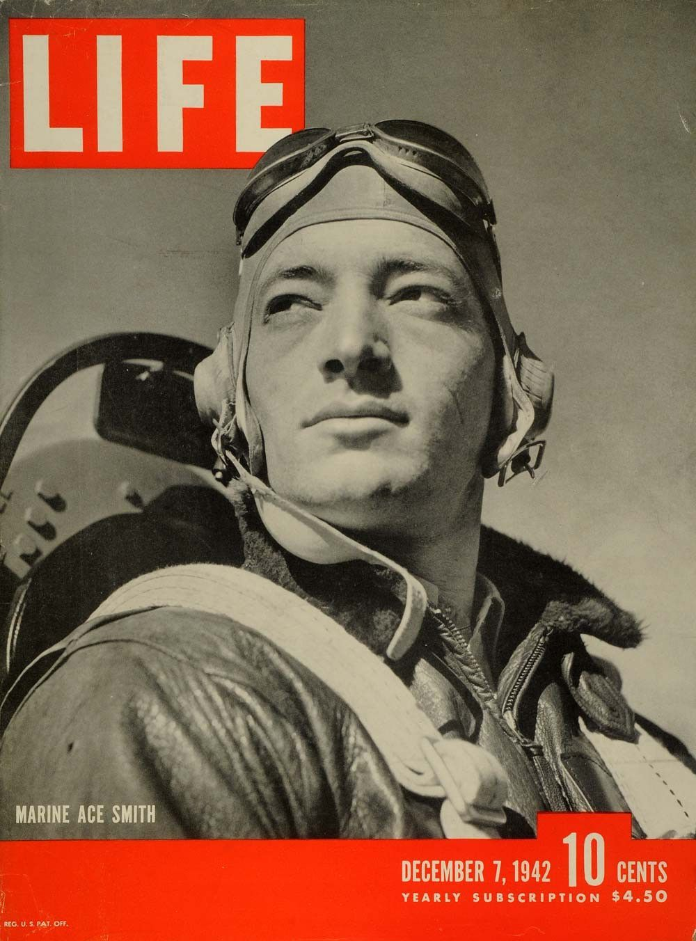 1942 Cover LIFE Marine Ace Fighting Squadron Captain John Lucian Smith LF5