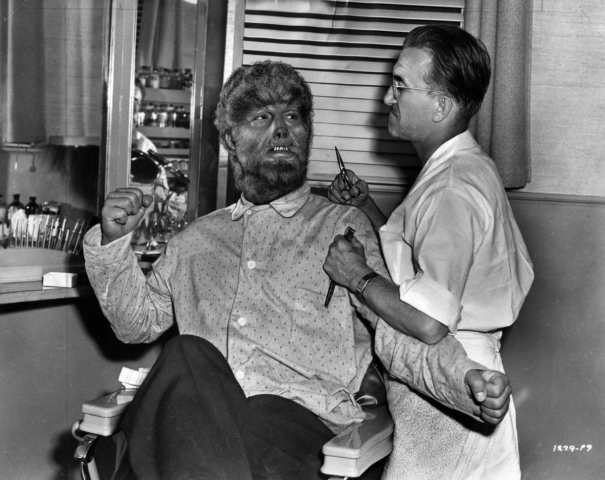 "Lon Chaney Jr. & makeup artist Jack Pierce during production of ""The Wolf  Man"" (1941)"