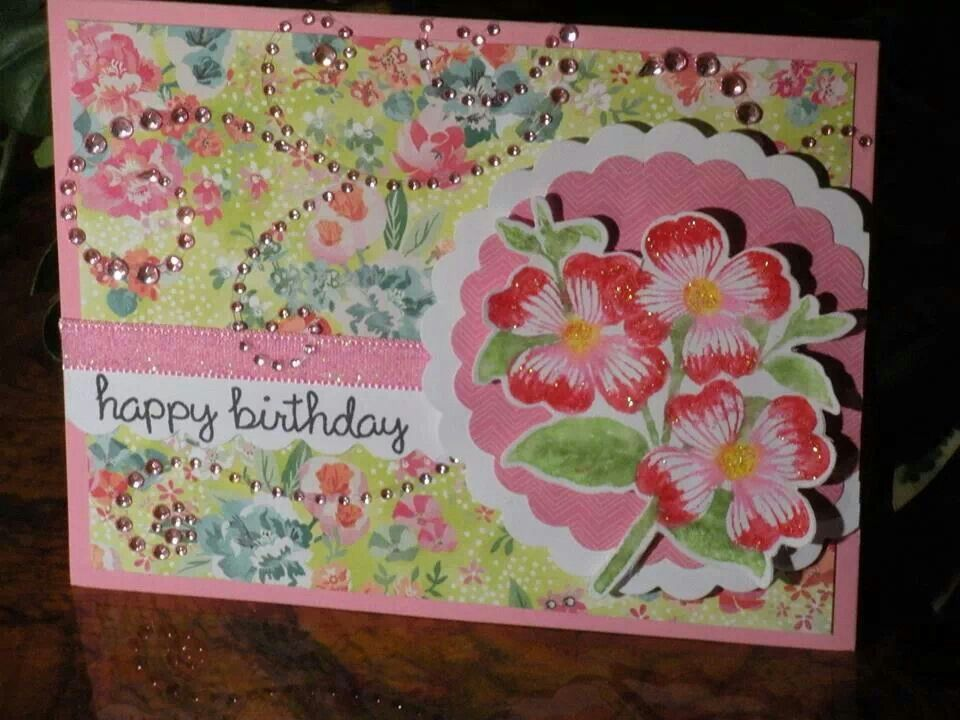 Made this birthday card for my mom and tried to add some sparkle and lots of pink.