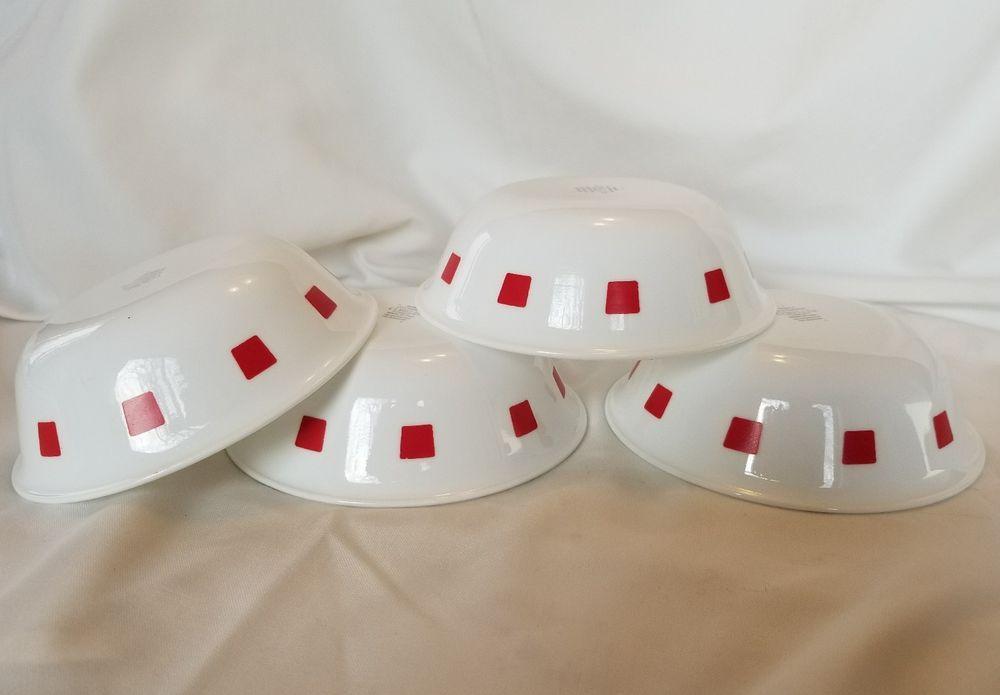 Vintage Corelle URBAN RED Set of 4 Soup Cereal Bowls 6\