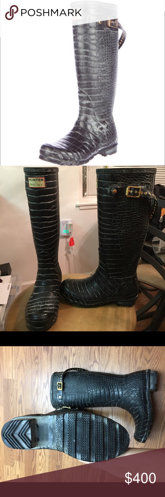 00cfd0e11ae7 Jimmy Choo x Hunter Embossed Rainboots 6-7 So cute Distressed black  embossed alligator print
