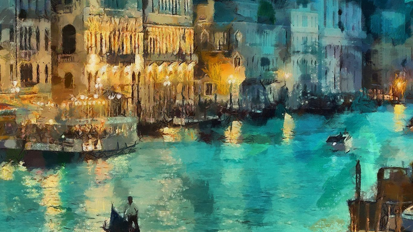Wallpaper Aq31 Art Classic Painting Water Lake Night Venice Painting Painting Wallpaper Classic Paintings