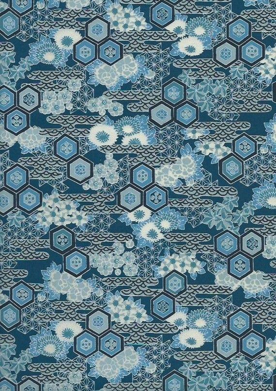 papier japonais motif bleu de pissenlit chrysanth me et. Black Bedroom Furniture Sets. Home Design Ideas