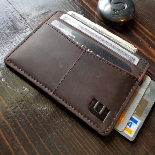 c9b11b5ae52 WALLETERAS -Minimalist Card Holder -Coffee Crazy Horse Leather -Front View