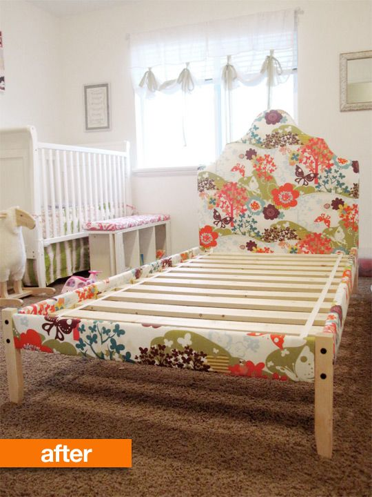 Before & After: Simple IKEA Wooden Bed Frame Gets a Luxe Upholstered ...