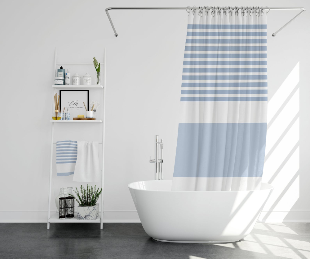 Ocean Striped Shower Curtain Striped Shower Curtain Blue Striped Shower Curtain Long Shower Curtain Large Print Shower Curtain Bath In 2020 With Images