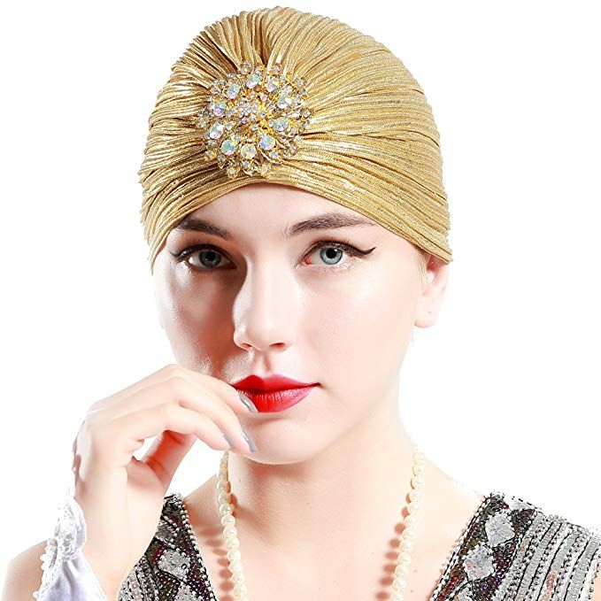 5c3005fa28c27f BABEYOND Women's Turban Hat with Crystal Vintage Head Wrap Knit Pleated  Turban (Gold)