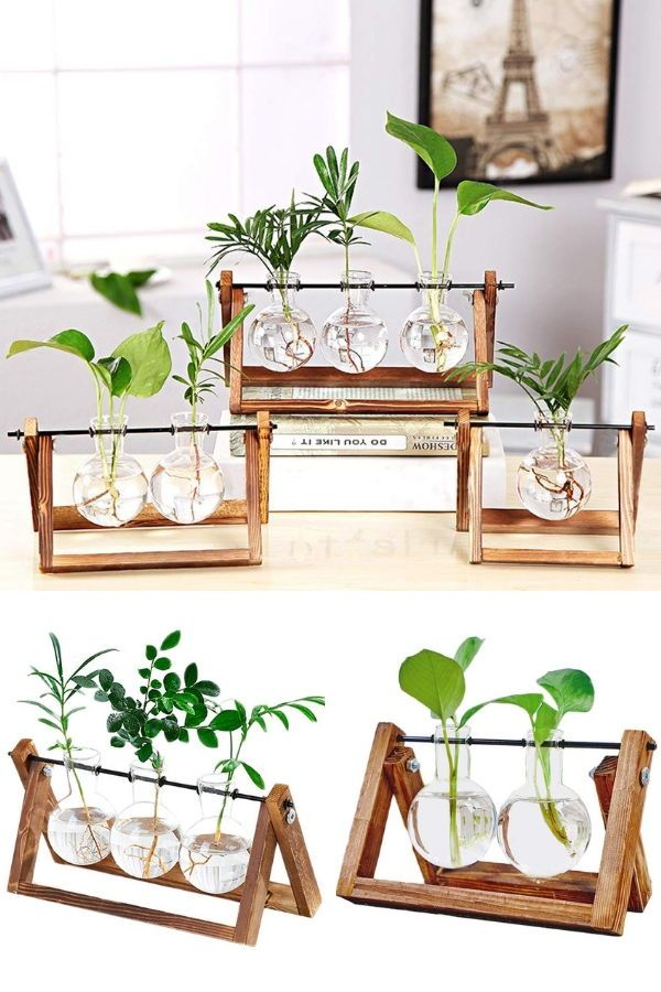 Clear Glass Planter Bulb Vase With Vintage Wooden Stand 640 x 480