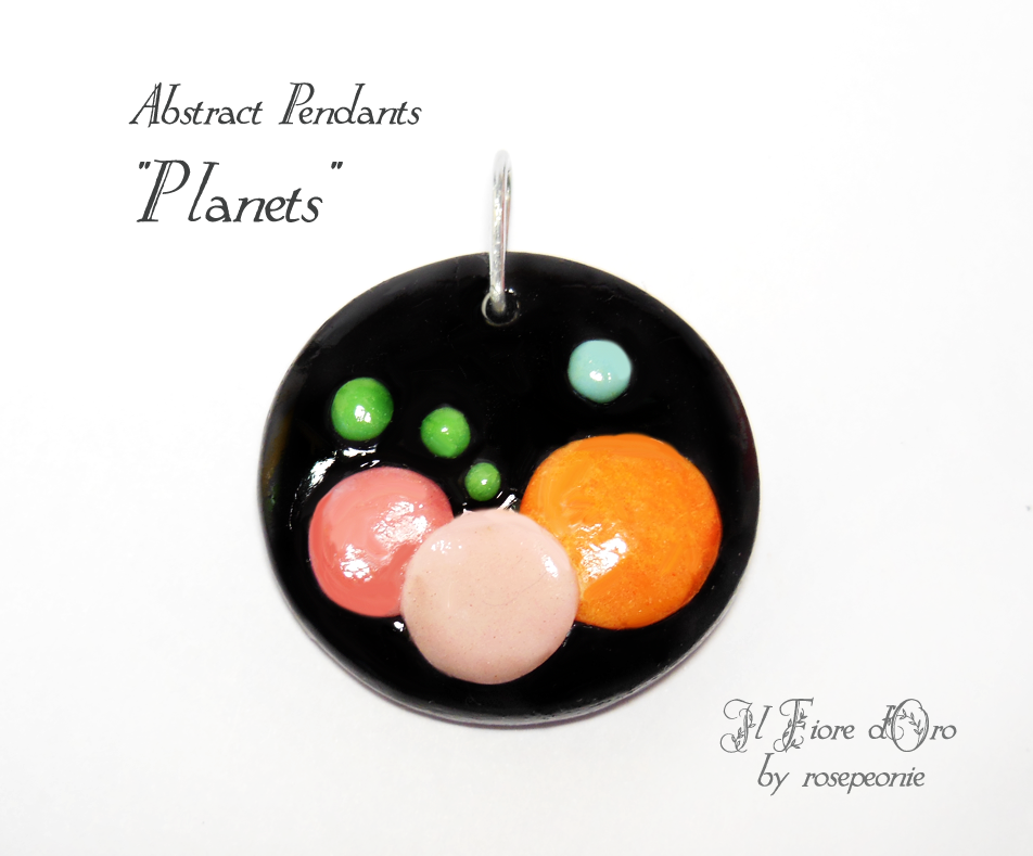 """Planets"", pendant with an abstract design in low-relief inspired by the movement and colours of our solar system's planets. Thanks to its black background and effect of movement, this pendant is an original and refined accessory, made entirely by hand from molding to painting. Cold porcelain, ..."