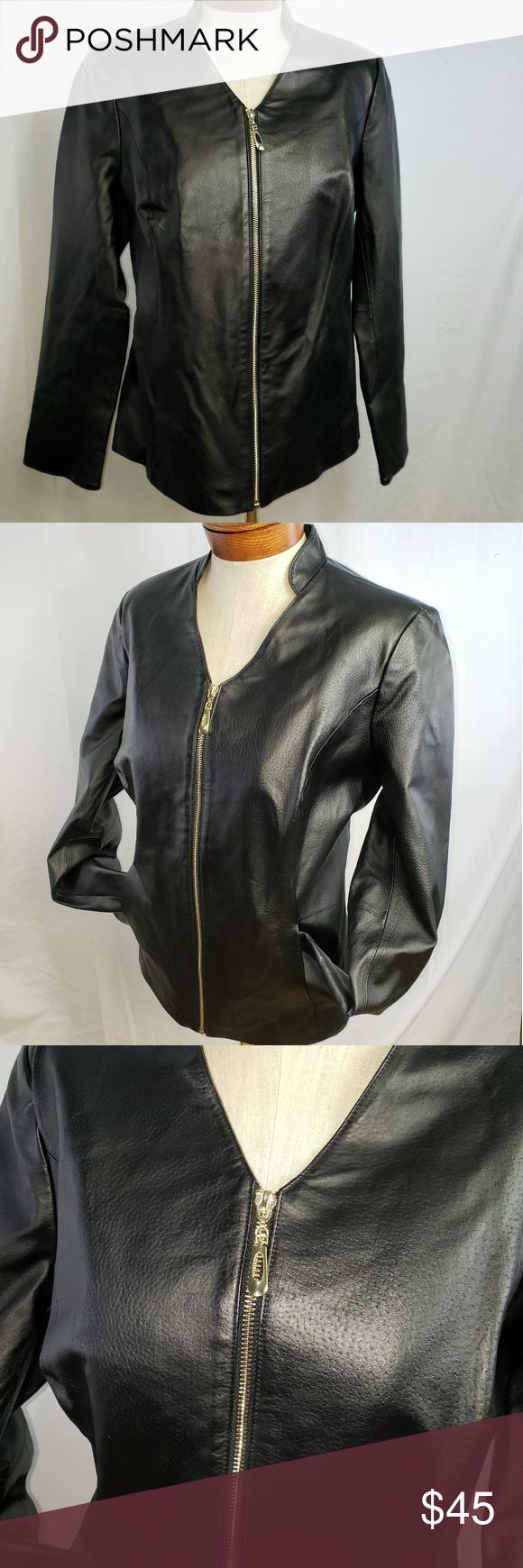 IMAN Genuine Black Leather Jacket Near Prestine Black