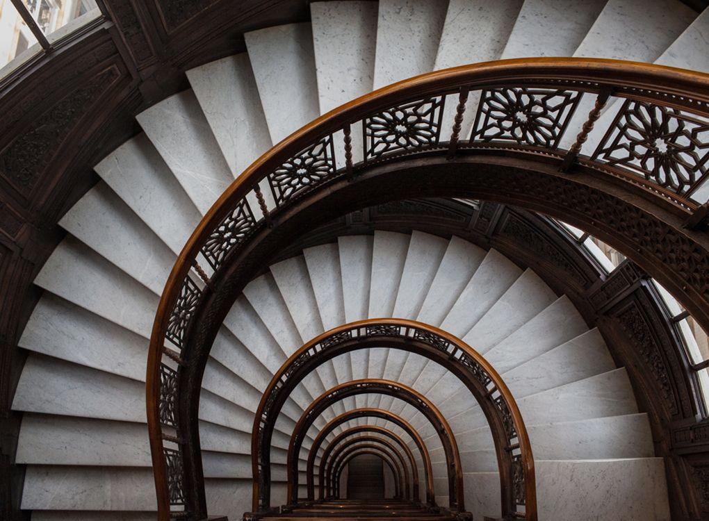 Frank Lloyd Wright Staircase In The Rookery Building In Chicago. Marc  Alcock Photography