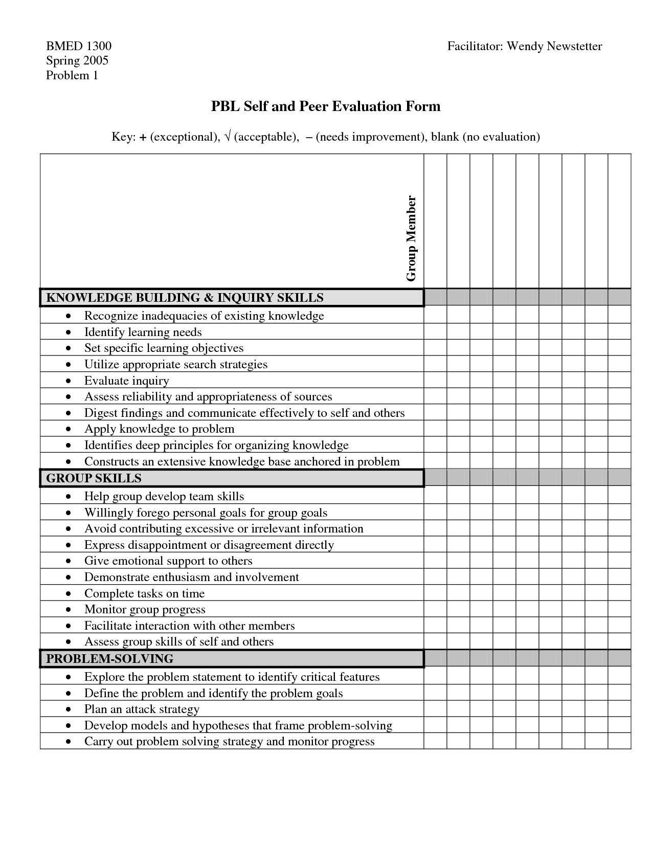 Pbl Peer Evaluation  Assessment In Pbl    Project