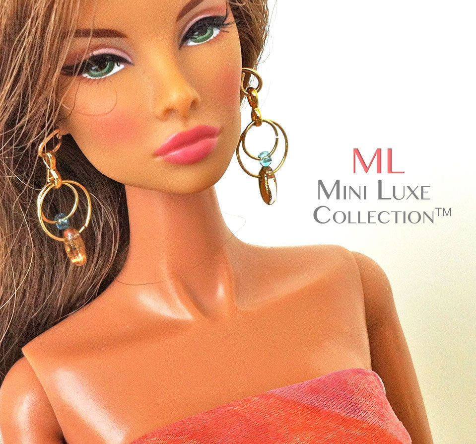 Doll Jewelry for Fashion Royalty Dolls, Barbie Dolls - Gold & Aqua Drop Earrings by Mini Luxe Collection