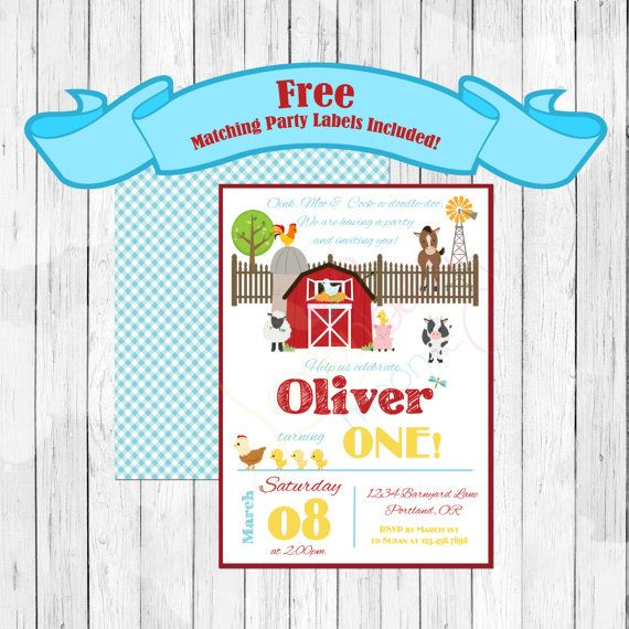 farm theme party birthday invitation or evite with free matching party labels barnyard invitation petting zoo free download included