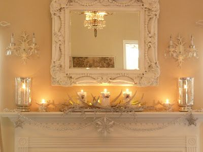Shabby Chic Mantel   #interior #mantel #mirror
