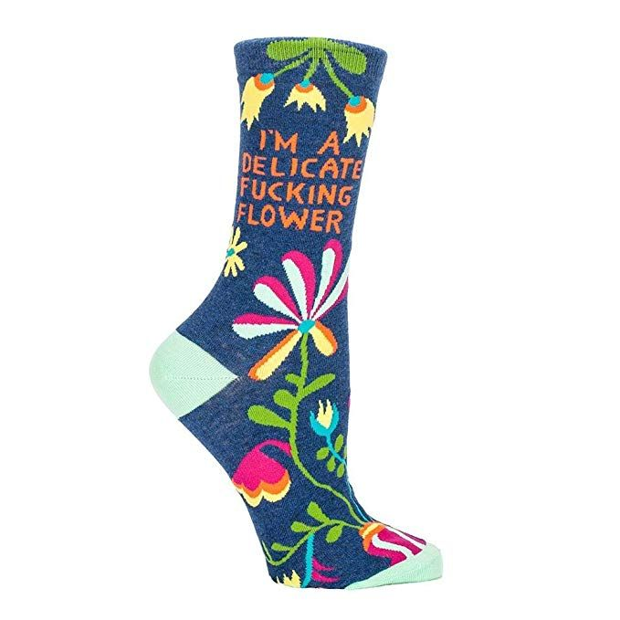 Blue Q Womens Novelty Crew Socks Stay Away from Assholes