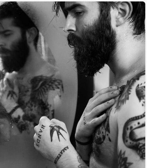 Tattooed Guy Taking A Shower