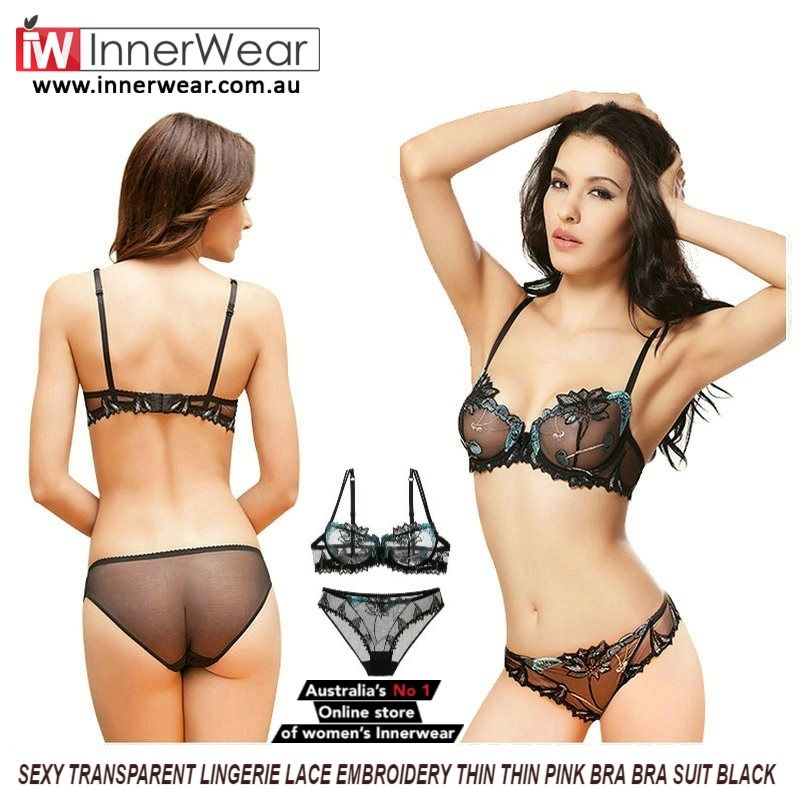 b85942fab4 Sexy Transparent Lingerie Lace Embroidery Thin Thin Pink Bra Bra Suit Black   buy  Sexy  Transparent  Lingerie  Embroidery  Bra  BraSuit  innerwear   ...