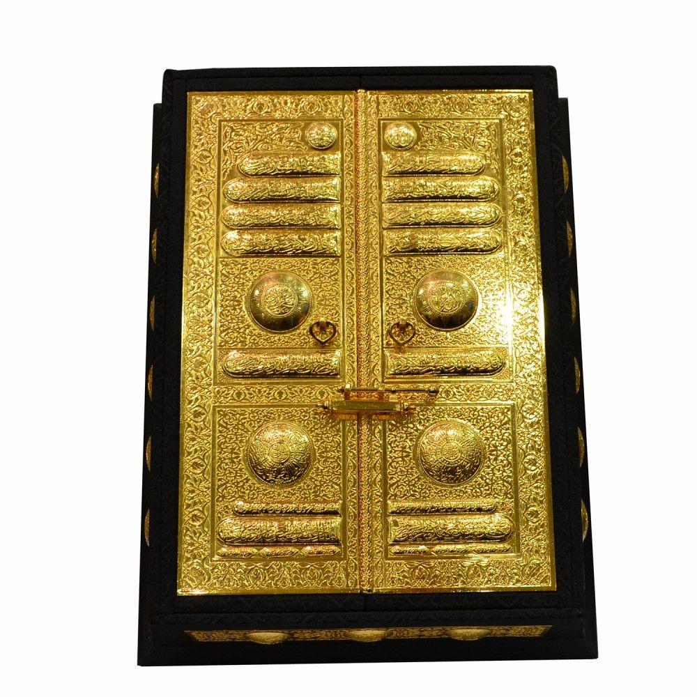 Exclusive Kanarygifts حصريا صندوق المصحف الشريف بغطاء باب الكعبة الشريفة علبة مصنعة من الخشب الخارج بقماش كعبة مقلد أسود Pure Products Pure Gold Gold