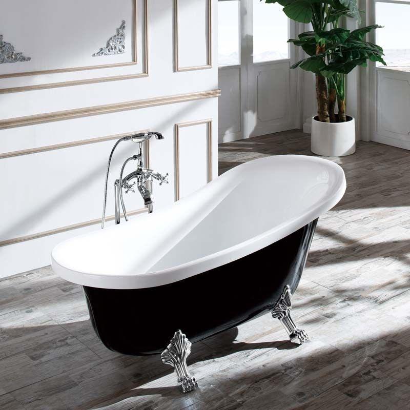 baignoire ilot noire et blanche dans un style rétro 160x76