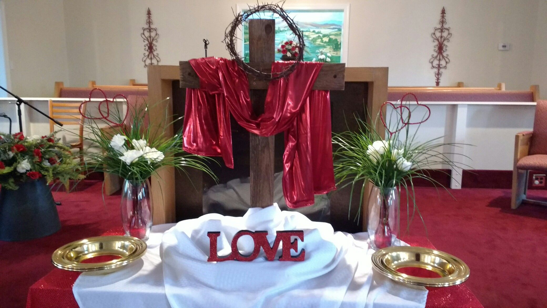 Red Church Altarscape For Valentine S Day Church Valentines Church Altar Decorations Altar Decorations