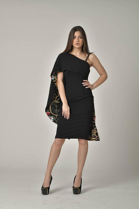 51194ce6d8 PLUS SIZE Midi Designer One Shoulder Little Black Dress   Stylish Bodycon  Pencil Party Formal Eveni