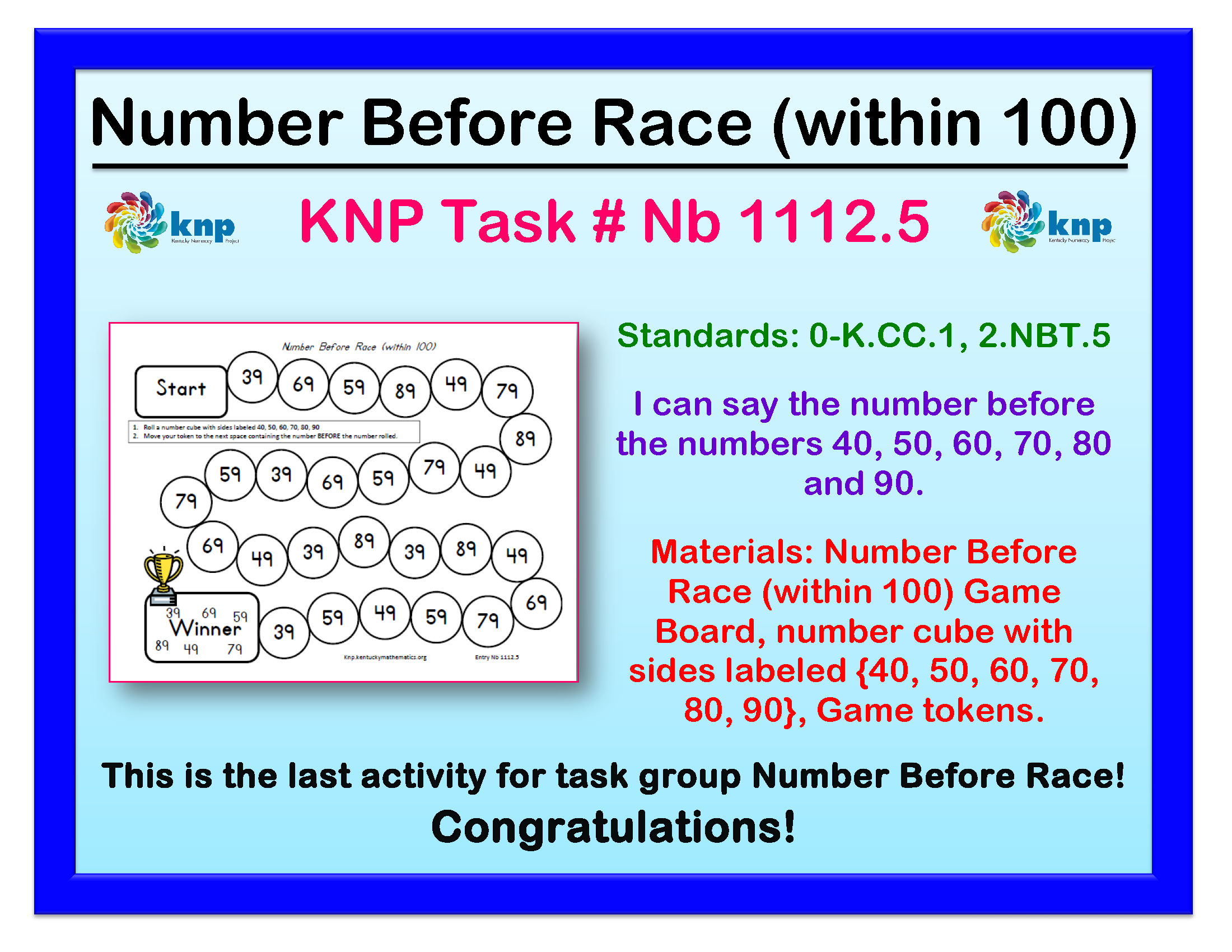 Number Before Race Within 100