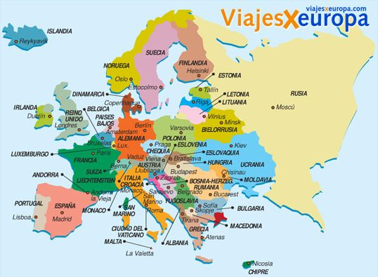 Map of Europe in Spanish with capital cities. | Spanish Learning