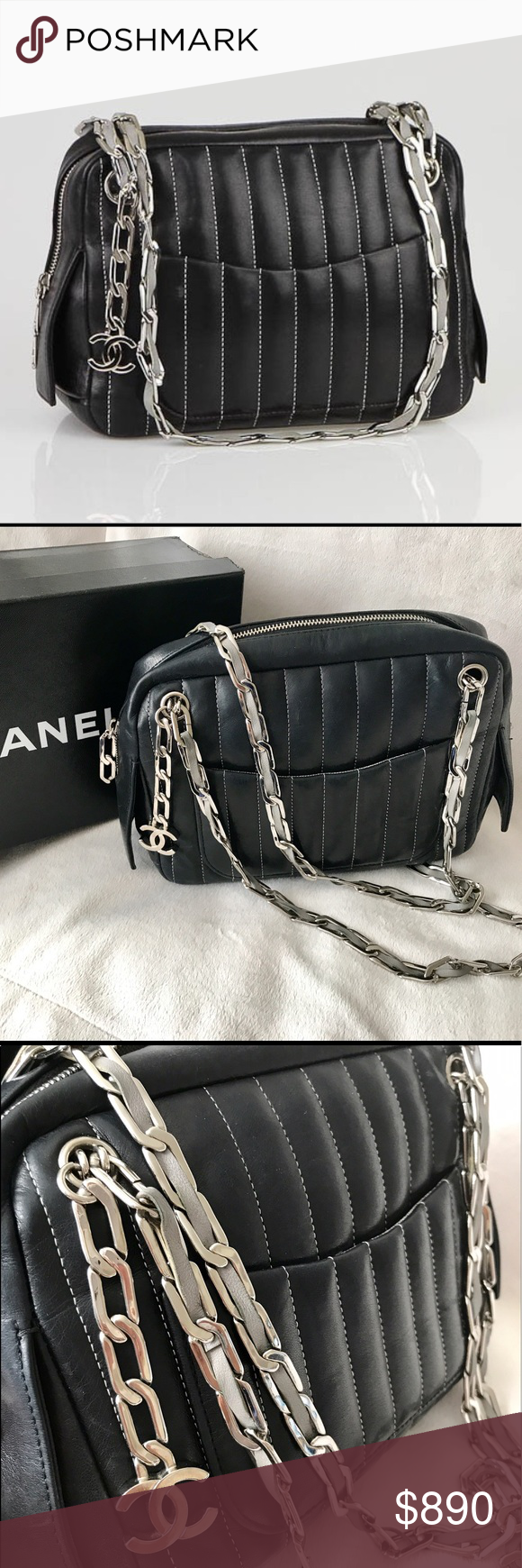 68f7eeec0c57 Chanel Black Quilted Mademoiselle Ligne Camera Bag Authentic Gorgeous and  Rare Chanel Black Quilted Lambskin Mademoiselle
