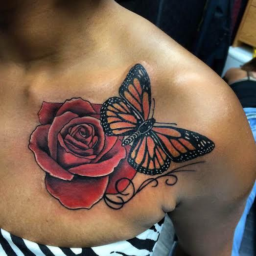 Flower Rose Tattoo Butterfly Monarch Color Butterfly Thigh Tattoo Butterfly Tattoo Rose And Butterfly Tattoo