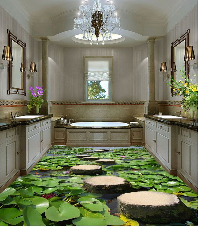 Lilypad pond stone stage fish floor decals 3d wallpaper for Stone bathroom wallpaper