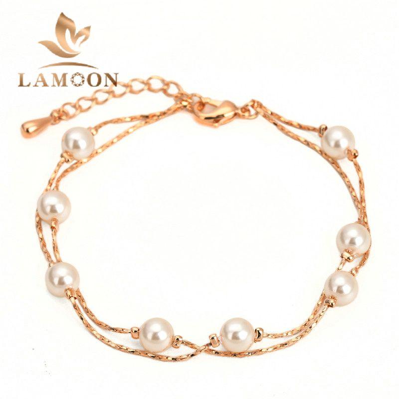 Top Quality Elegant Imitation Pearl Bracelet Rose Gold Plated