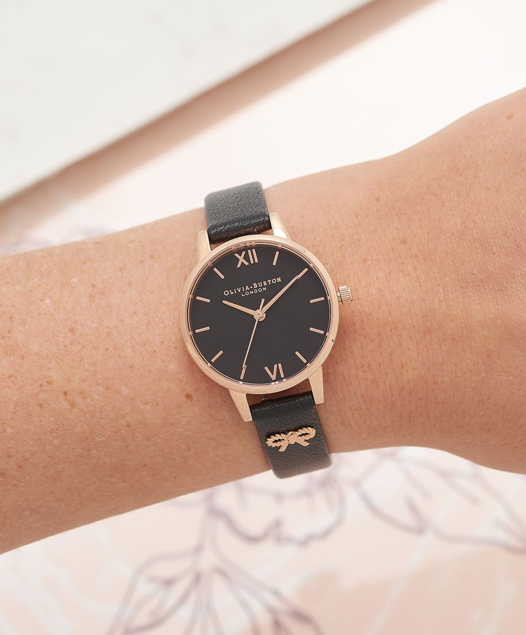 f8b09546b77 OLIVIA BURTON LONDON Vintage Bow Black & Rose Gold Watch OB16VB07 – Midi  Dial in Black and Rose Gold - Other view