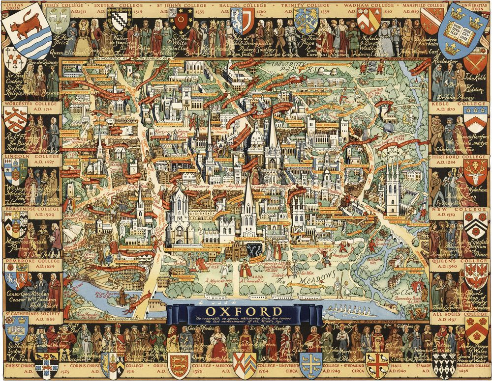 Oxford University Campus Map.1948 Pictorial Map Oxford University Campus Reprint Ready To Frame
