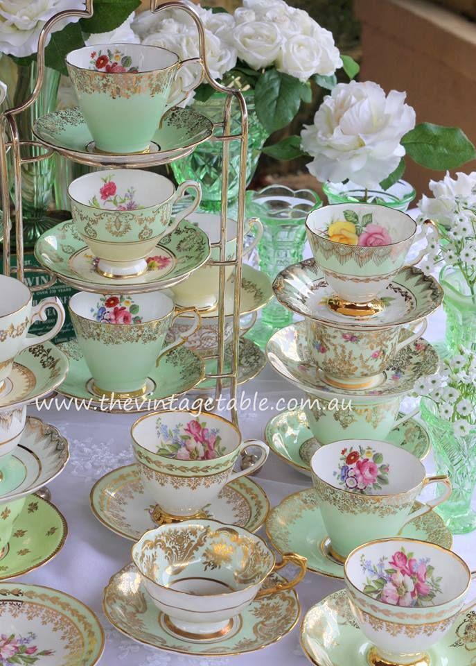Vintage Mint Green Tea Cup Sets Vintage Green Glass Vases For An