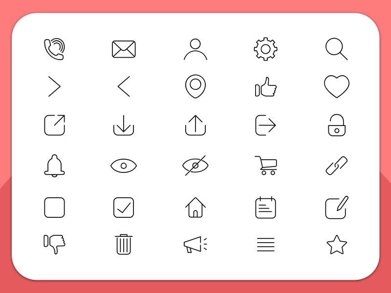 30 Essential Line Icons Sketch Freebie Download Free Resource