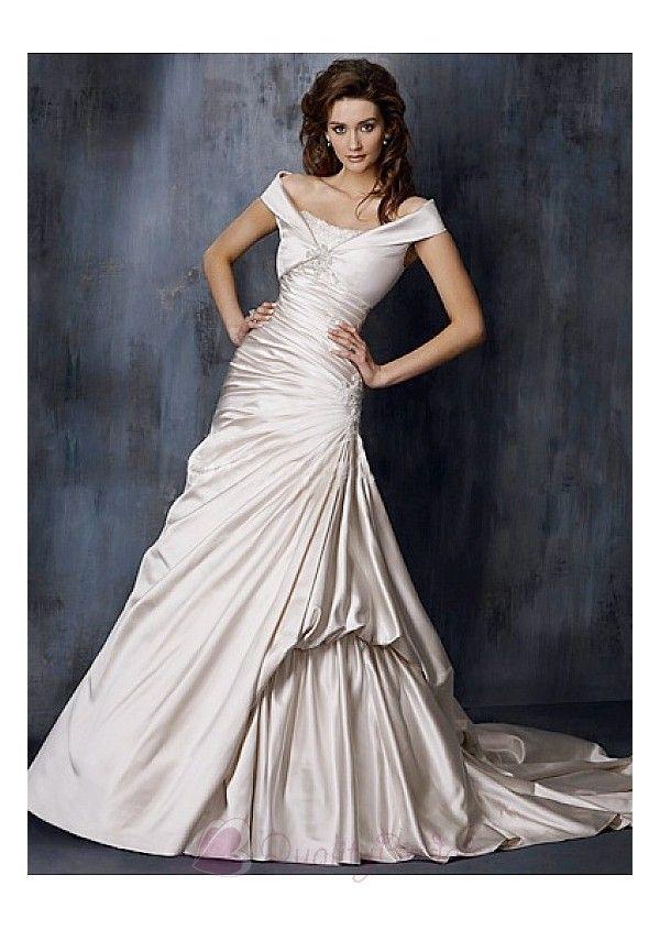 Unique Satin Strapless Wedding Dress with a Jacket in Great Handwork W2341  $229.00