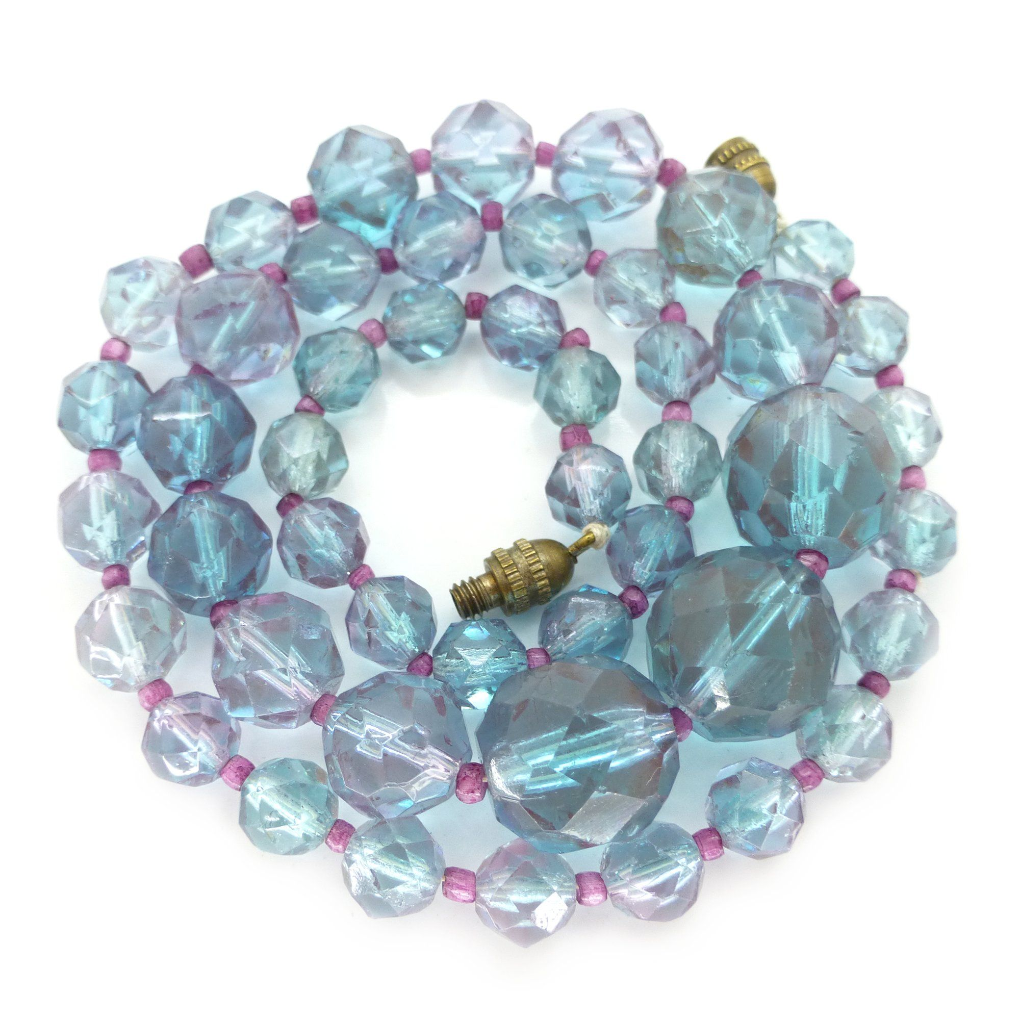 Antique Edwardian Saphiret Glass Faceted Glass Bead Necklace Clarice Jewellery Faceted Glass Bead Necklace Glass Bead Necklace Faceted Bead Necklace