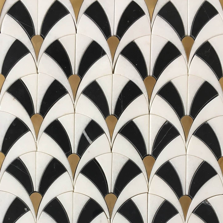 Photo of Fan Waterjet Mosaic Thassos Black Jade and Brass