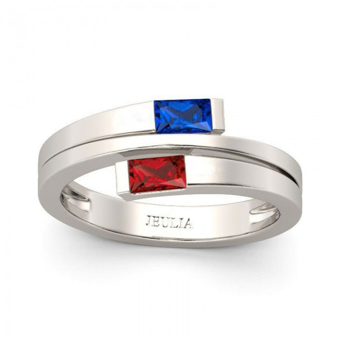 Two-stone Split Shank Baguette Cut Ruby & Sapphire Rhodium Plated Sterling Silver Women's Ring - Jeulia Jewelry