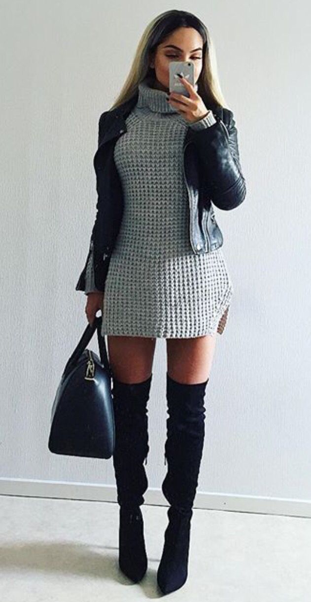 Black Leather Jacket High Boots Bag Gray Sweater Dress Fall
