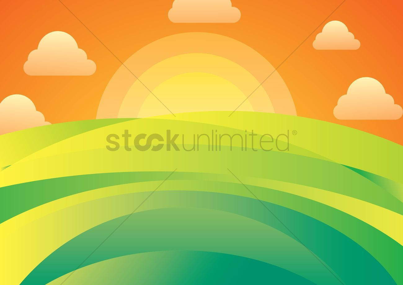 Sun rising behind green hill horizon vectors stock clipart