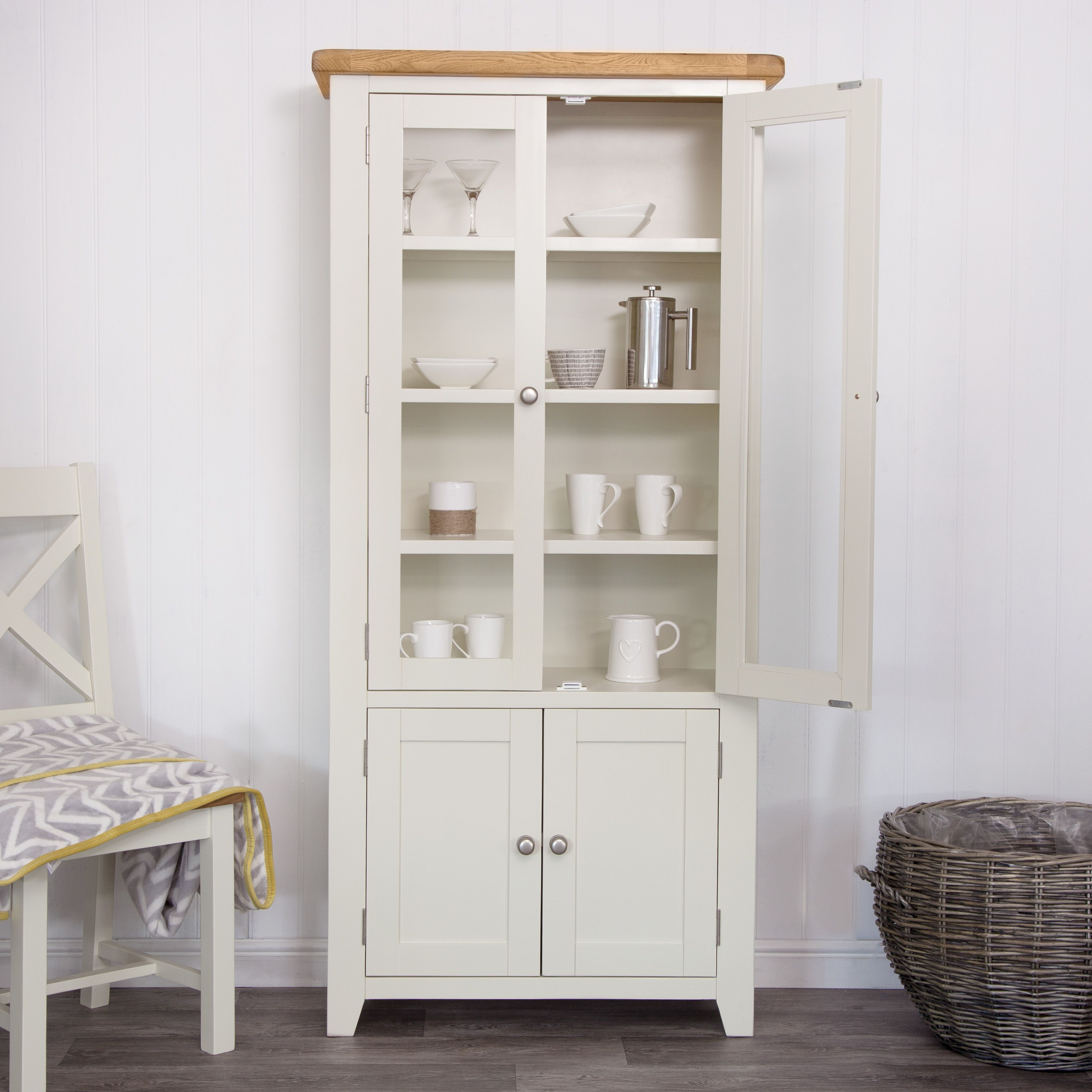 Hampshire Ivory Painted Oak Display Cabinet | Oak display ...