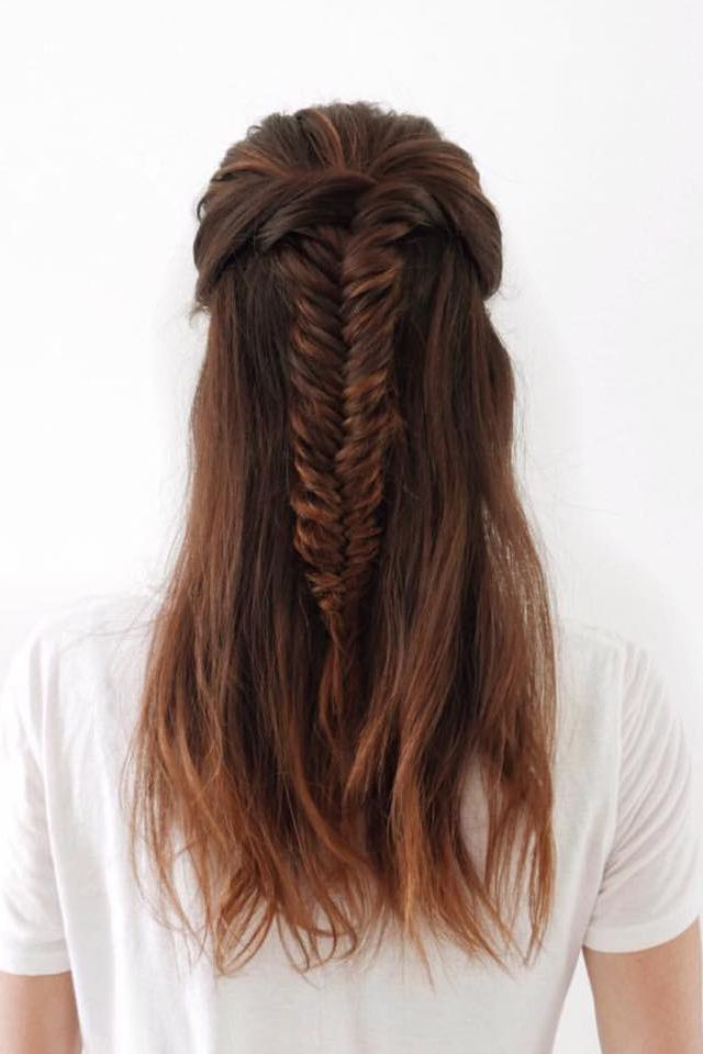 Half Up Fishtail Braid Fishtail Hairstyles Hair Styles Fishtail Braid Hairstyles