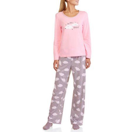 beea171fd1 White Stag Women s Long Sleeve Sleepshirt and Pant PJ Set (Sizes XS ...