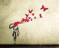 Banksy Wall Decal BUTTERFLY SUICIDE GIRL Street art wall sticker, urban wall art graffiti, banksy wall art stencil, urban interior decor